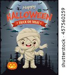 vintage halloween poster design ... | Shutterstock .eps vector #457560259