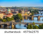 prague city skyline and charles ... | Shutterstock . vector #457562575