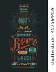 poster bottle of beer with hand ... | Shutterstock .eps vector #457564459