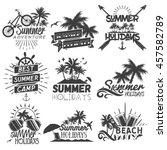 set of summer season labels in... | Shutterstock . vector #457582789