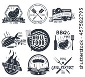 set of grill and bbq labels in... | Shutterstock . vector #457582795