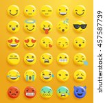 flat smiley emoticon set  ... | Shutterstock .eps vector #457587739