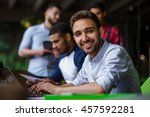 happy man looking at camera and ... | Shutterstock . vector #457592281