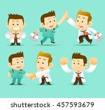 vector set of cartoon doctor... | Shutterstock .eps vector #457593679