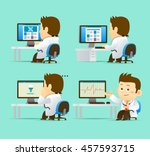 vector set of cartoon doctor... | Shutterstock .eps vector #457593715
