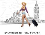 young woman travelling to... | Shutterstock . vector #457599754