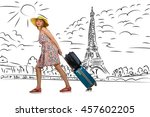 young woman travelling to paris | Shutterstock . vector #457602205
