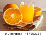 orange and orange juice on... | Shutterstock . vector #457603189