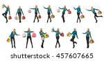 woman with shopping bags... | Shutterstock . vector #457607665