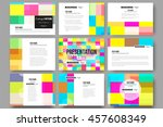 set of 9 vector templates for... | Shutterstock .eps vector #457608349