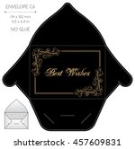 envelope template with die cut. ... | Shutterstock .eps vector #457609831