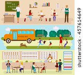 back to school concept. set of... | Shutterstock .eps vector #457614649