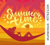 summer time vector illustration.... | Shutterstock .eps vector #457621234