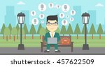 an asian man sitting on bench... | Shutterstock .eps vector #457622509