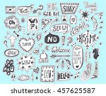 doodle speech and thought... | Shutterstock .eps vector #457625587