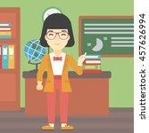 an asian young teacher standing ... | Shutterstock .eps vector #457626994