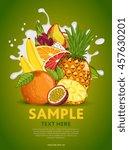 fruit mix composition in milk... | Shutterstock .eps vector #457630201