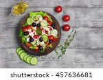 traditional greek salad with... | Shutterstock . vector #457636681