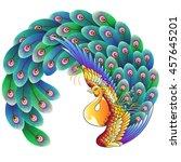 japanese style peacock   Shutterstock .eps vector #457645201