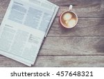 cup of coffee with newspaper in ... | Shutterstock . vector #457648321