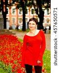 elegant beautiful brunette with ... | Shutterstock . vector #457650571