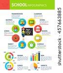 school infographics. flat...   Shutterstock .eps vector #457663885