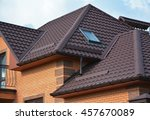 new roofing construction with... | Shutterstock . vector #457670089