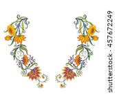 neck line embroidery designs... | Shutterstock .eps vector #457672249