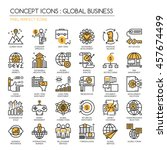 global business   thin line and ... | Shutterstock .eps vector #457674499