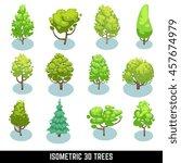 isometric 3d trees  landscape... | Shutterstock . vector #457674979