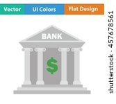bank icon. flat color design....