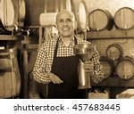 cheerful man wearing apron... | Shutterstock . vector #457683445
