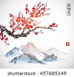 sakura in blossom and mountains.... | Shutterstock .eps vector #457685149