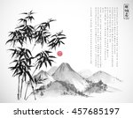 bamboo tree and mountains hand... | Shutterstock .eps vector #457685197