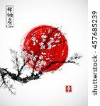 sakura in blossom and red sun ... | Shutterstock .eps vector #457685239