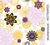 mandala pattern  floral... | Shutterstock .eps vector #457704955