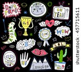 hand drawn fun patch  pin ... | Shutterstock .eps vector #457715611