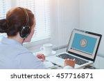 woman watching video tutorial... | Shutterstock . vector #457716871