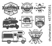 set of rv camping  outdoor... | Shutterstock .eps vector #457723051