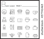 bakery line icons set.mono... | Shutterstock .eps vector #457741465