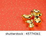 gold ingot on festive... | Shutterstock . vector #45774361