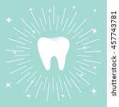 healthy tooth icon. round line... | Shutterstock .eps vector #457743781