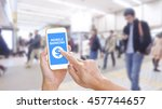 hands holding smartphone with... | Shutterstock . vector #457744657