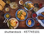 dinner table with roasted... | Shutterstock . vector #457745101