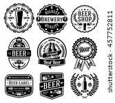 vector set of beer labels and... | Shutterstock .eps vector #457752811