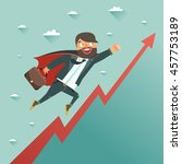 businessman superhero flying to ... | Shutterstock .eps vector #457753189
