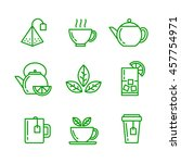 tea icons set. vector isolated... | Shutterstock .eps vector #457754971