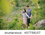 loving couple walking on the... | Shutterstock . vector #457758157