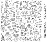 Stock vector hand drawn doodle pets stuff and supply icons set vector illustration vet symbol collection 457766197