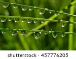 water drops on wet grass with... | Shutterstock . vector #457776205